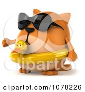 Clipart 3d Chubby Orange Cat Wearing An Inner Tube And Shades And Presenting Royalty Free CGI Illustration