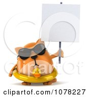 Clipart 3d Chubby Orange Cat Wearing An Inner Tube And Shades And Holding A Sign Royalty Free CGI Illustration