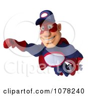 Clipart 3d Super Auto Mechanic Flying With A Wrench Royalty Free CGI Illustration