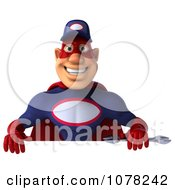 Clipart 3d Super Auto Mechanic And Blank Sign Board 1 Royalty Free CGI Illustration
