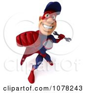 Clipart 3d Super Auto Mechanic Holding A Wrench And Punching 3 Royalty Free CGI Illustration