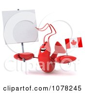 Clipart 3d Red Lobster Holding A Canadian Flag And Blank Sign 2 Royalty Free CGI Illustration