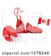 Clipart 3d Red Lobster Holding A Canadian Flag And Blank Sign 1 Royalty Free CGI Illustration