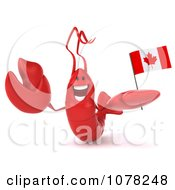 Clipart 3d Red Lobster Holding A Canadian Flag 2 Royalty Free CGI Illustration