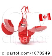 Clipart 3d Red Lobster Holding A Canadian Flag 1 Royalty Free CGI Illustration
