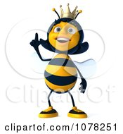 Clipart 3d Queen Bee Looking Up And Pointing Royalty Free CGI Illustration