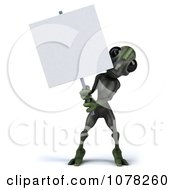 Clipart 3d Green Alien And Blank Sign Board 1 Royalty Free CGI Illustration
