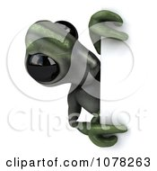 Clipart 3d Green Alien And Blank Sign Board 4 Royalty Free CGI Illustration