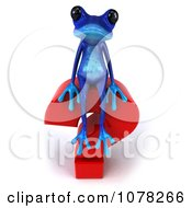 3d Blue Springer Frog With A Red Question Mark 2