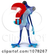 3d Blue Springer Frog With A Red Question Mark 3