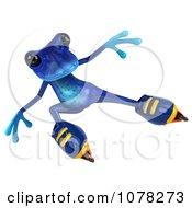 3d Blue Springer Frog Roller Blading 5