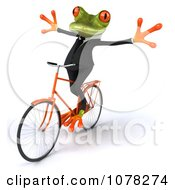 Clipart 3d Business Springer Frog Riding A Bike Hands Free Royalty Free CGI Illustration