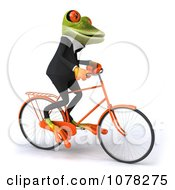 Clipart 3d Business Springer Frog Riding A Bicycle 4 Royalty Free CGI Illustration