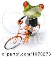 Clipart 3d Business Springer Frog Riding A Bicycle 3 Royalty Free CGI Illustration