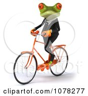 Clipart 3d Business Springer Frog Riding A Bicycle 2 Royalty Free CGI Illustration
