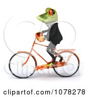 Clipart 3d Business Springer Frog Riding A Bicycle 1 Royalty Free CGI Illustration