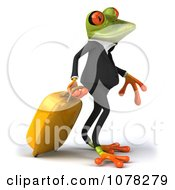 Clipart 3d Traveling Business Springer Frog Walking With A Suitcase Royalty Free CGI Illustration