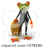 Clipart 3d Traveling Business Springer Frog Standing With A Suitcase Royalty Free CGI Illustration