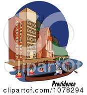 Clipart Couple Enjoying A Gondola Ride On The River In Providence Rhode Island Royalty Free Vector Illustration by Andy Nortnik