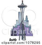 Clipart The Space Needle And Seattle Washington Skyline Royalty Free Vector Illustration by Andy Nortnik