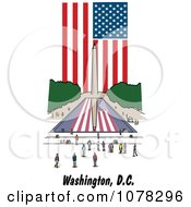 Clipart The American Flag And Washington Monument Reflecting In The Pool In The National Mall Of DC Royalty Free Vector Illustration