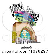 Clipart Motor Speedway Race Cars And Flags Over A Building In Indianapolis Indiana Royalty Free Vector Illustration