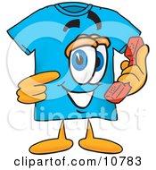 Blue Short Sleeved T-Shirt Mascot Cartoon Character Holding A Telephone