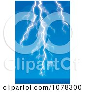 Clipart Lightning Striking Over Blue Water And Sky Royalty Free Illustration