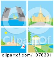 Clipart St Petersburg Russia Rising Bridge Moscow University Sochi Seaport And Yaroslavl Summer House Royalty Free Vector Illustration by Alex Bannykh