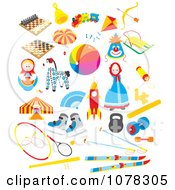 Clipart Set Of Toys Royalty Free Vector Illustration