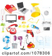 Clipart Set Of Electronics Appliances And Tools Royalty Free Vector Illustration by Alex Bannykh