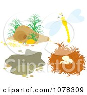Clipart Dragonfly And Nests Royalty Free Vector Illustration