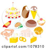Clipart Set Of Desserts Dairy And Meat Royalty Free Vector Illustration