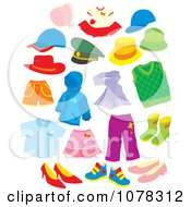Clipart Set Of Clothing And Apparel Royalty Free Vector Illustration by Alex Bannykh