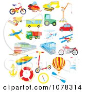 Clipart Set Of Transportation Vehicles Royalty Free Vector Illustration