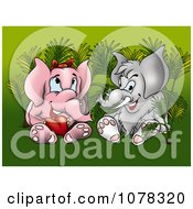 Valentine Elephants With A Heart Sitting In Plants