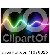 Clipart Glowing Neon Wave Over Black Royalty Free Vector Illustration