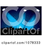 Clipart Silhouetted Concert Crowd Under Blue Lights Royalty Free Vector Illustration