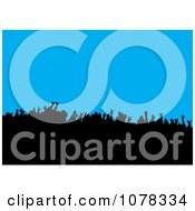 Clipart Silhouetted Concert Crowd On Blue Royalty Free Vector Illustration by michaeltravers