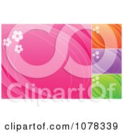 Floral Backgrounds Of Daisies On Pink Orange Purple And Green With Copyspace