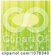 Clipart Green Floral Background Of Fronds And Stripes With Copyspace Royalty Free Vector Illustration