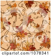 Clipart Seamless Autumn Leaf And Vine Background Royalty Free Vector Illustration by elena