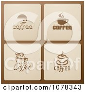 Clipart Set Of Brown And Beige Coffee Icons Royalty Free Vector Illustration by elena