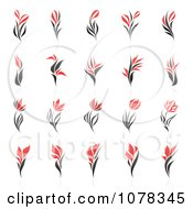 Clipart Red And Black Floral Logos With Reflections Royalty Free Vector Illustration