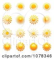 Clipart Shiny Summer Sun Logos Royalty Free Vector Illustration