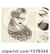 Clipart Beautiful Woman With Hair Extensions And Glasses Royalty Free Vector Illustration