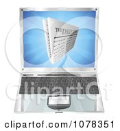 Clipart 3d Daily Newspaper Over A Laptop Computer Royalty Free Vector Illustration