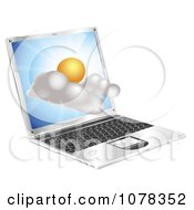 3d Sunny Weather Cloud Emerging From A Laptop