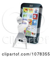 Clipart 3d Silver Man Using Apps On A Smart Phone Royalty Free Vector Illustration