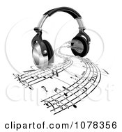 Clipart 3d Headphones With Sheet Music Streaming From Speakers Royalty Free Vector Illustration by AtStockIllustration
